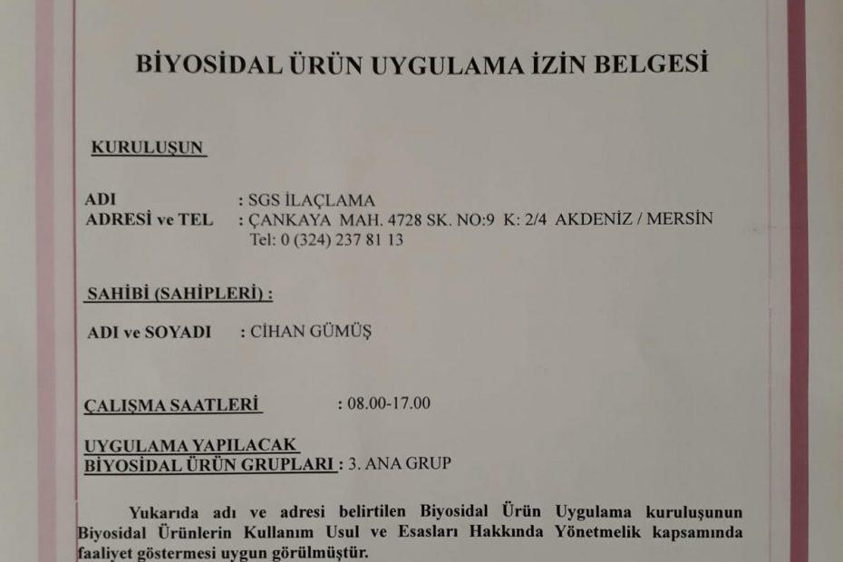 Mersin SGS böcek ilaçlama sağlık bakanlığı biyosidal belgesi